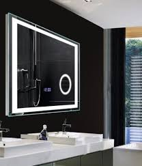 bathroom magnifying mirror with light high class bathroom led lighting wall mirrors with digital clock