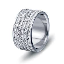 crystal pave rings images 12mm wide 5 row cz crystal pave stainless steel jewelry wedding jpg