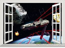 3d star wars spaceship millennium falcon death star window view 3d star wars spaceship millennium falcon death star window view wall decals wall art stickers home