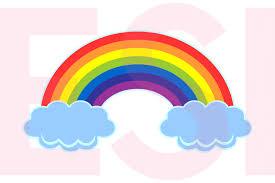 rainbow in the clouds design design bundles