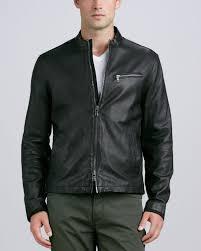 leather moto jacket john varvatos leather moto jacket black in black for men lyst