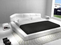 Leather Platform Bed Italian Design White Leather Platform Bed With C