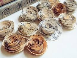 Paper Roses Paper Flowers For Weddings Sheet Music Flowers Paper Flowers