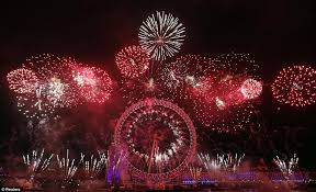 happy new year firework display lights up central