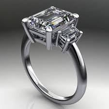 emerald cut wedding set 4 carat emerald cut supernova moissanite ring