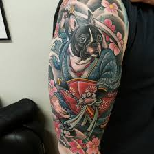 matzon boston terrier samurai zombie tattoozombie tattoo