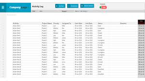daily activity report sample activity log excel project management templates project activity log