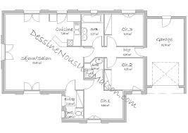 plan plain pied 3 chambres plan de maison plain pied 3 chambres avec garage perspective