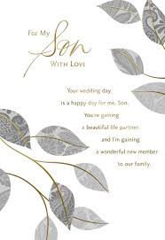 silver leaves wedding card for son greeting cards hallmark