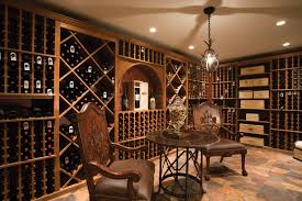 modern wine cellar design with mounted racks also built in lamps