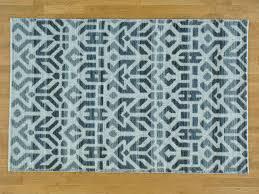 Large Low Pile Rug 5 U0027 X 7 5 U0027 Wool And Silk High And Low Pile Handmade Modern Rug