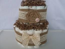 2 tier burlap diaper cake baby diaper cake rustic baby