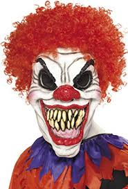 killer clown mask smiffy s men s scary clown mask white one size