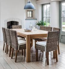 Dining Furniture Table In Elm Wood With Elm Wood And Rattan Dining - Wooden dining table with wicker chairs