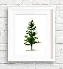 Pine Tree Art Print Wall Decor Watercolor Painting