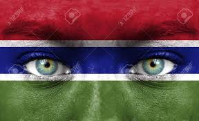 Gambia Flag Human Face Painted With Flag Of Gambia Stock Photo Picture And