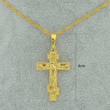 gold plated cross necklace images Anniyo silver gold color orthodox christianity church eternal jpg