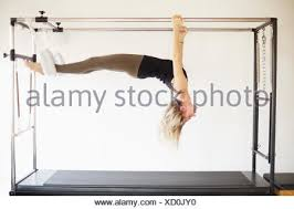 pilates trapeze table for sale woman in gym using pilates reformer stock photo 129628835 alamy