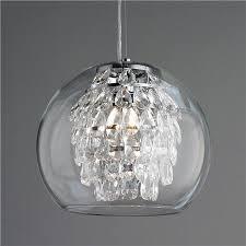 Glass Sphere Pendant Light Glass Globe And Crystal Pendant Light Crystal Pendant Lighting