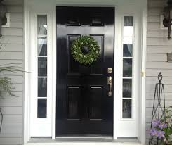 wood front door black painted oak wood entry door with white side panel of winsome