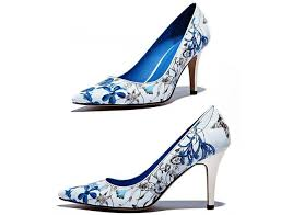 wedding shoes brands 2014 new women blue and white porcelain pumps fashion high