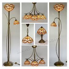 Wohnzimmerlampe 5 Flammig Stehlampe Mit Leselampe Im Tiffany Stil Buntglas