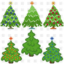 pixel christmas trees with different decorations fir tree vector