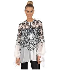 flowy blouses lyst just cavalli deco flower flowy blouse in black