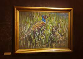 pheasant painting home decor animal portrait impressionist wall