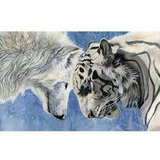 40 30cm diy 5d diamond painting wolf vs tiger picture of