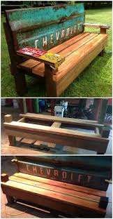 Bench Made From Tailgate Diy Patio Bench With An Old Car Tailgate 1001 Gardens