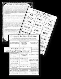 vocab study guide biology phases of moon phases vocabulary word wall and activity pack