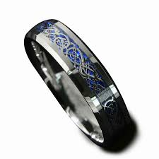 mens claddagh ring queenwish 6mm blue silvering celtic tungsten carbide ring