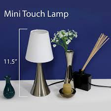 Tiny Lamps by Simple Designs Lt2014 Wht 2pk Valencia Brushed Nickel Mini Touch