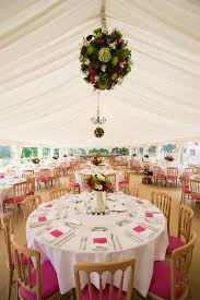 pink cream and green country style wedding marquee decoration