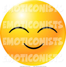 clip art of a yellow emoticon face with a pleasant smile with eyes