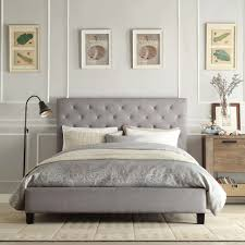 diy bedroom makeover wooden platform bed frame gray fabric