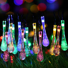 solar powered string lights solar outdoor string lights 20ft 30 led water drop solar string