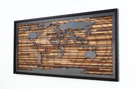 custom made world map artwork made of barnwood and