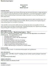 Personal Profile Resume Examples by Manufacturing Engineer Cv Example Icover Org Uk