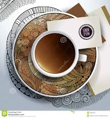 cup of coffee and floral ornament stock vector image