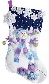 frosty night bucilla christmas stocking kit christmas
