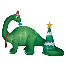 Holiday Blow Up Decorations 9 5 Foot Brontosaurus Scene Inflatable Decoration