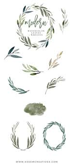 wedding invitations greenery modern watercolor leaves clipart for wedding invitations logos more