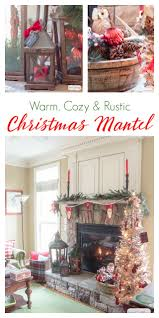 cozy fireplace mantel with rustic christmas decor atta says