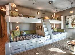 Custom Built Bunk Beds Four Bunk Beds With Ladder In The Middle - Double and twin bunk bed