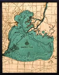 Michigan Lake Maps by Custom Wood Charts Of Lake St Clair From Carved Lake Art