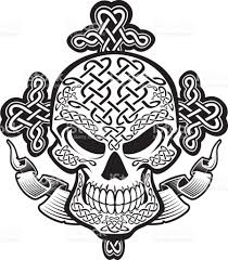 Celtic Skull - skull with celtic knot pattern cross and stock vector