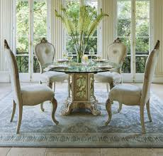Round Glass Top Dining Room Table Aico Platine De Royale Round Glass Top Dining Set Champagne 09001