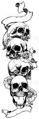 skulls and roses sleeve with ribbon for letters